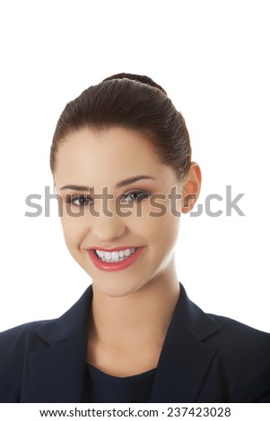 Confident young beautiful happy businesswoman