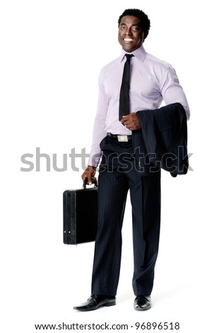 confident young black business entrepreneur stands with his briefcase ready to take on the world. isolated on white - stock photo