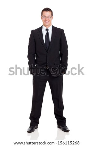 confident young business entrepreneur on white background - stock photo