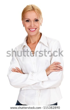 confident young business lady posing against white background - stock photo