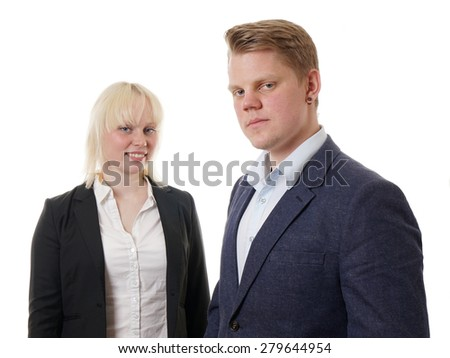 confident young business team businesswoman and businessman - stock photo