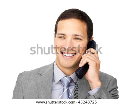 Confident young businessman talking on phone against a white background