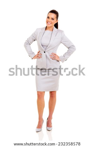 confident young businesswoman isolated on white  - stock photo