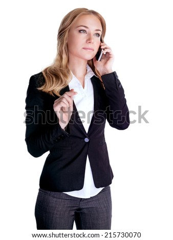 Confident young businesswoman talking on mobile phone, isolated on white background, communicate with business partner, career and success concept - stock photo