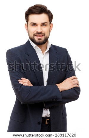 Confident young caucasian businessman portrait isolated on white - stock photo