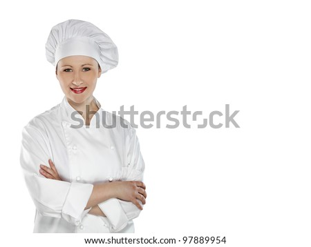 Confident young female chef with arms crossed  isolated on white - stock photo