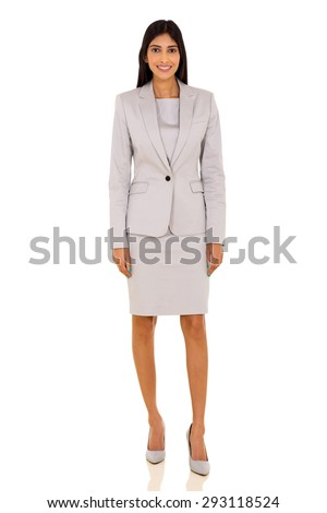 confident young indian businesswoman on white background - stock photo