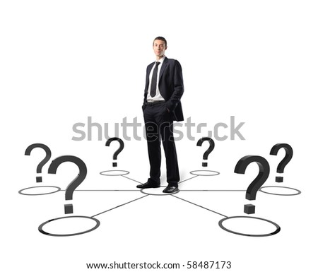 confident young leader and 3d connection on white - stock photo