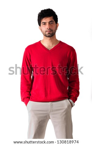 confident young man isolated on white - stock photo