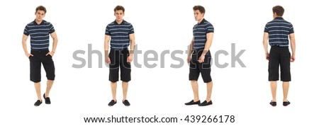 Confident young man portrait wearing shorts isolated in white - stock photo