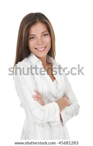 Confident young smiling businesswoman. Beautiful mixed race chinese / caucasian model isolated on seamless white background. - stock photo