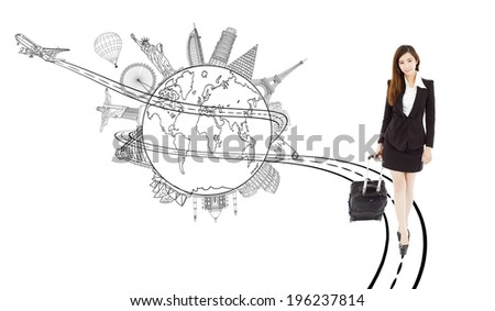 confident young woman pulling a baggages for worldwide trip - stock photo