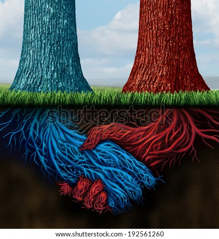 Confidential agreement and insider trading as two trees with underground roots shaped as a business handshake as a metaphor for hidden merger contracts between partners working on a secret deal. - stock photo