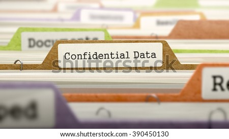 Confidential Data Concept on File Label in Multicolor Card Index. Closeup View. Selective Focus. 3D Render.  - stock photo
