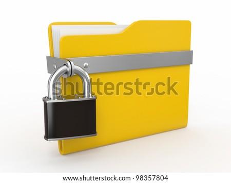 Confidential files. Padlock on folder on white background. 3d - stock photo