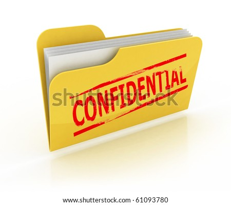 confidential folder icon over the white background - stock photo