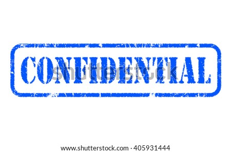 CONFIDENTIAL rubber blue stamp text on white background - stock photo