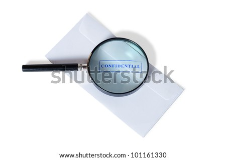 confidential stamp with magnifying glass over it isolated on white background - stock photo