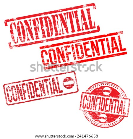 Confidential stamps. Different shape rubber stamp illustrations  - stock photo