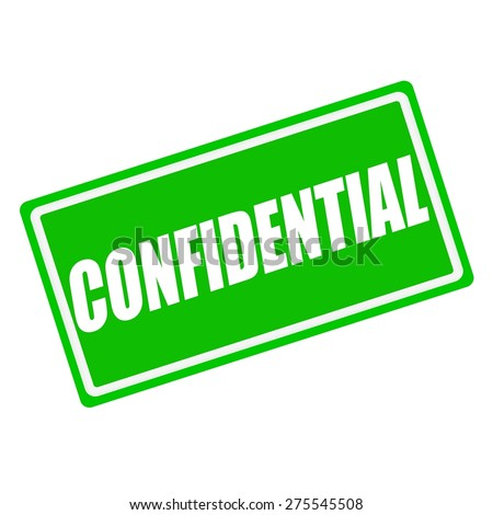Confidential white stamp text on green background - stock photo