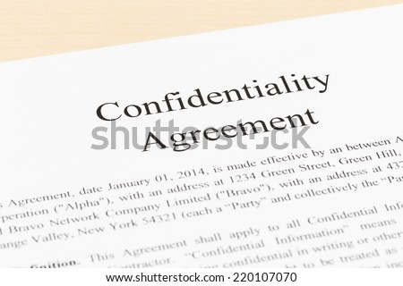 Confidentiality agreement document  close-up - stock photo
