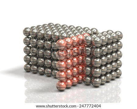 Configured tissue with ball metal.isolated, computer generated image - stock photo