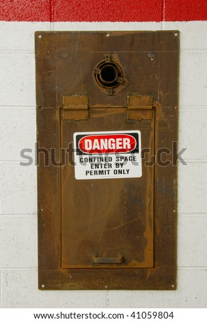 Confined space entry location under ramp at the old fire station in Roseburg Oregon - stock photo