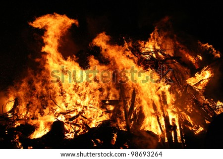 Conflagration in the dark night. Burning wood and trees with huge flames.