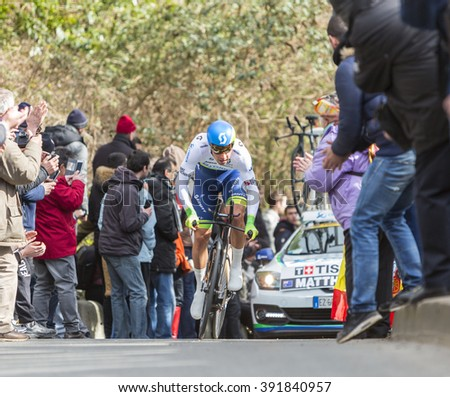CONFLANS-SAINTE-HONORINE,FRANCE- MARCH 6:The Australian cyclist Michael Matthews of Orica?GreenEDGE Team riding during the prologue stage of Paris-Nice in Conflans-Sainte-Honorine,on March 6 2016.