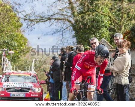 CONFLANS-SAINTE-HONORINE,FRANCE- MARCH 6: The French cyclist Arnold Jeannesson of Cofidis Team riding during the prologue stage of Paris-Nice in Conflans-Sainte-Honorine,on March 6 2016.