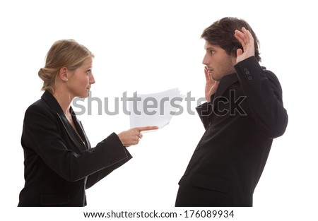 Conflict between an employee and his boss - stock photo