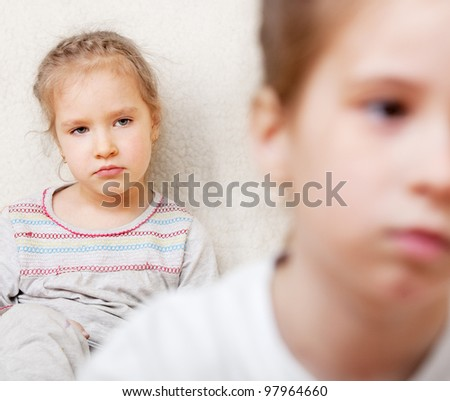 Conflict between children. The sisters quarreled. Problems in family - stock photo
