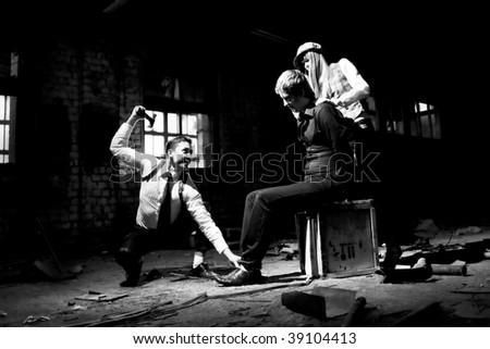 conflict between gangsters - stock photo