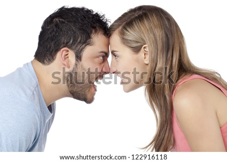 Conflict between Man and Woman isolated on - stock photo