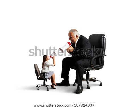 conflict between woman and senior man. isolated on white background