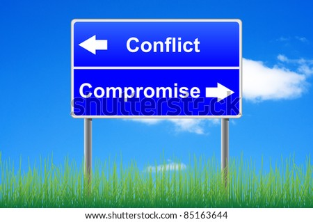 Conflict compromise roadsign on sky background, grass underneath. - stock photo