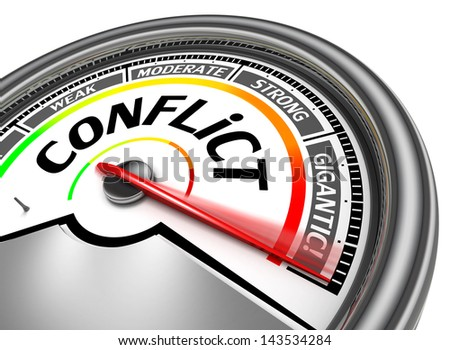 conflict conceptual meter, isolated on white background - stock photo