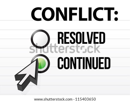 conflict continues question and answer selection design - stock photo