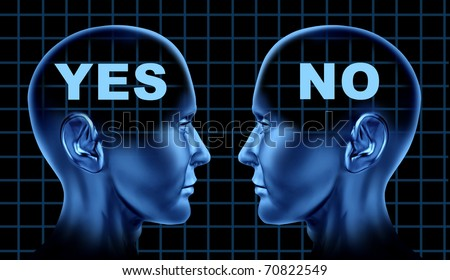 conflict different point of views opinion thoughts disagreement human heads face to face debate business symbol - stock photo