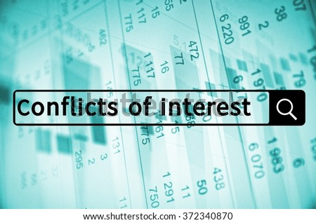 Conflict of interest written in search bar with the financial data visible in the background. - stock photo