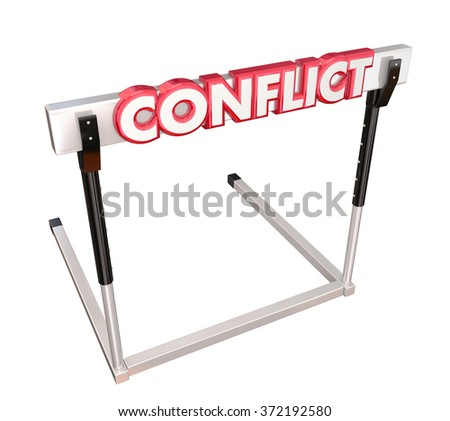 Conflict word in red 3d letters on a hurdle to illustrate overcoming a dispute, argument, problem or fighting to reach resolution - stock photo