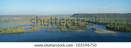 Confluence of Mississippi and Wisconsin Rivers, Pike's Peak State Park, Iowa - stock photo