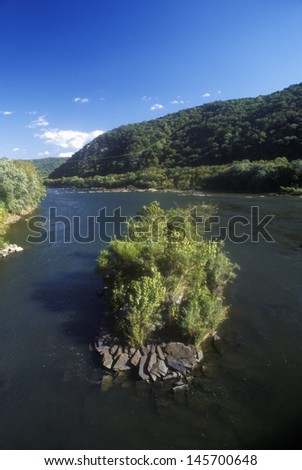 Confluence of Shenandoah and Potomac River at Harpers Ferry, WV - stock photo