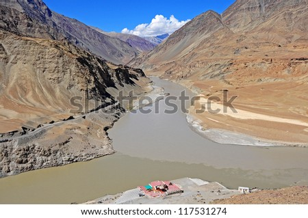 Confluence of Sindhu (Indus) and Zanskar Rivers in Ladakh, India