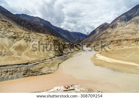 Confluence of the Indus and Zanskar Rivers merging in Leh Ladakh