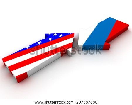 Confrontation between Russia and USA. 3d render - stock photo