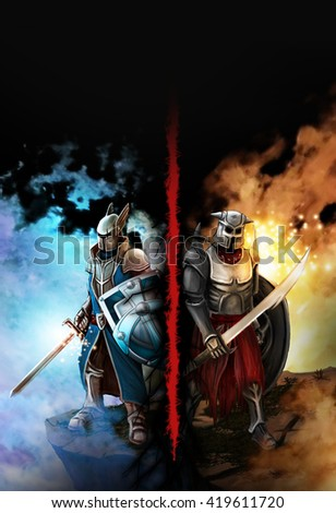 Confrontation between the two knights fantasy. Against the background of ice and fire