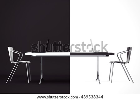 Confrontation Concept. Black and White Chairs and Desk in front of black and white background. 3d Rendering - stock photo