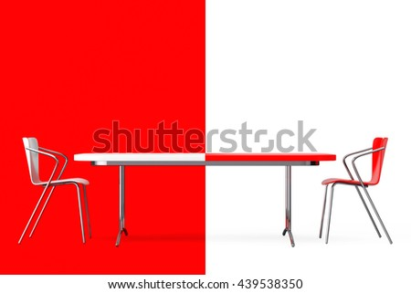 Confrontation Concept. Black and White Chairs and Desk in front of red and white background. 3d Rendering - stock photo