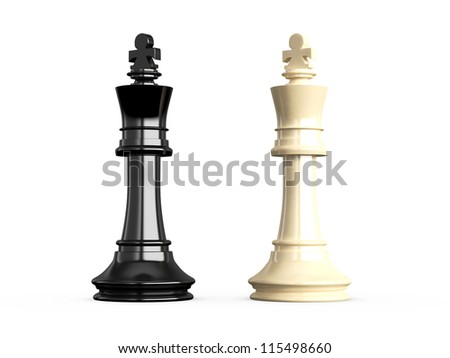 Confrontation of chess pieces kings, isolated on white background. - stock photo